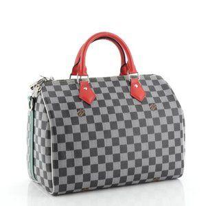 Louis Vuitton Black/White Damier Speedy 30 red Bag
